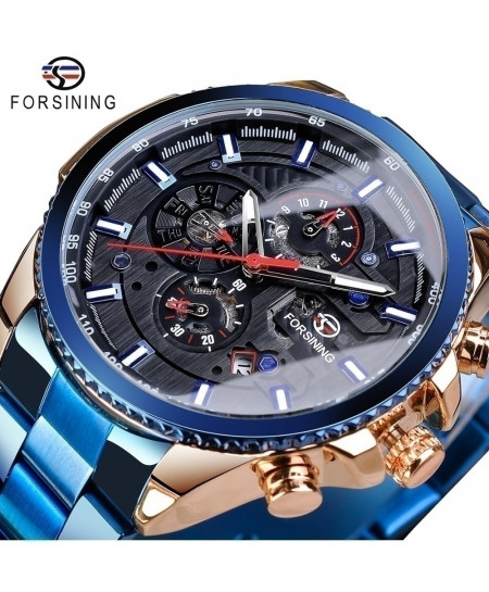 Forsining Black Dial Three Dial Calendar Stainless Steel Automatic Military Sport Watch GMT1137-14