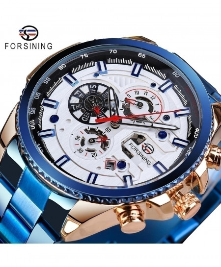 Forsining Blue Dial Three Dial Calendar Stainless Steel Automatic Military Sport Watch GMT1137-12