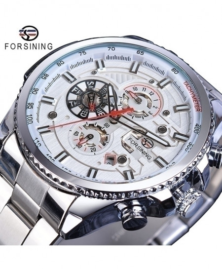 Forsining White Dial Three Dial Calendar Stainless Steel Automatic Military Sport Watch GMT1137-11