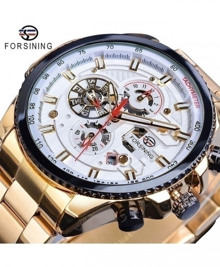 Forsining White Dial Three Dial Calendar Stainless Steel Automatic Military Sport Watch GMT1137-9