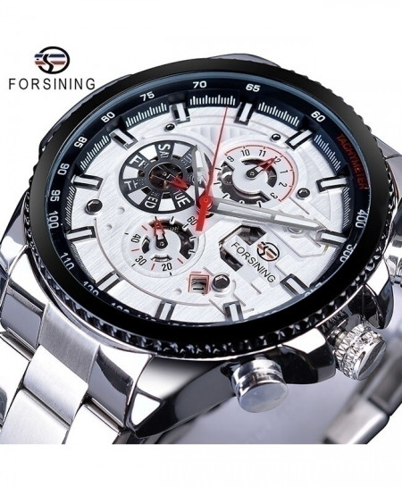Forsining White Dial Three Dial Calendar Stainless Steel Automatic Military Sport Watch GMT1137-3