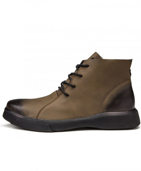 CYFMYD Brown Genuine Leather Wear Resistant Non-Slip Rubber Ankle Boots