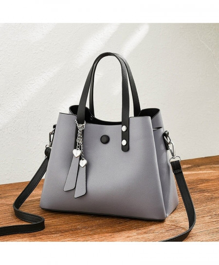 ZMQN Gray Pu Leather Crossbody Handbag