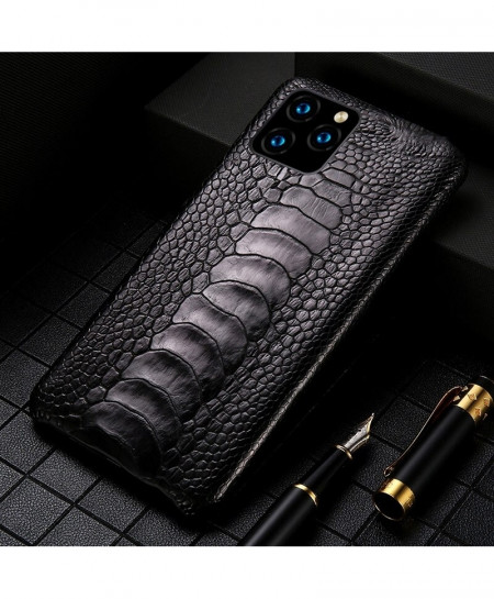 LANGSIDI Black Genuine Ostrich Foot Leather Luxury Cover For Apple iPhone