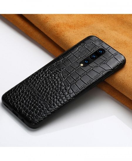 LANGSIDI Black Grain Leather Armor Case For Oneplus