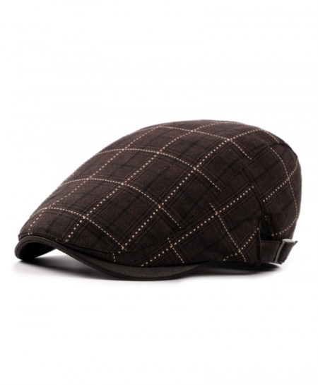 AETRENDS Coffee Polyester Cotton Plaid Beret Cap