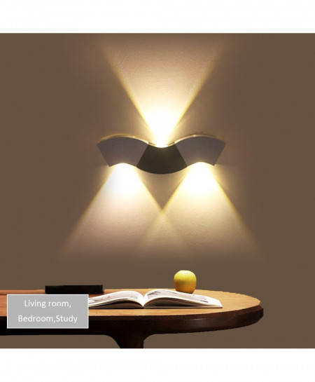 CHINCOLOR Yellow Aluminum 9W Wave Light For Hall Bedr Plated Led Wall Lamp