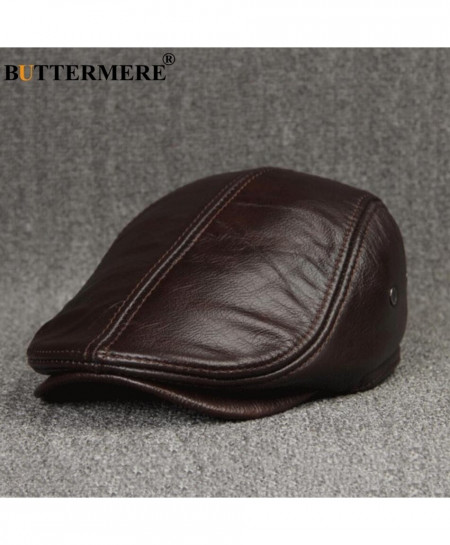 BUTTERMERE Coffee Sombrero Genuine Leather Flat Beret Cap