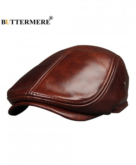 BUTTERMERE Brown Sombrero Genuine Leather Flat Beret Cap