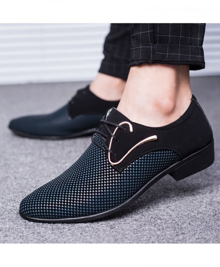 SIKETU Blue Flock Canvas Pointed Toe Formal shoes