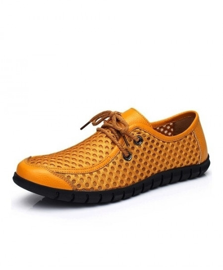 MAISMODA Yellow Hollow Breathable Genuine Leather Lace-Up Casual Shoes