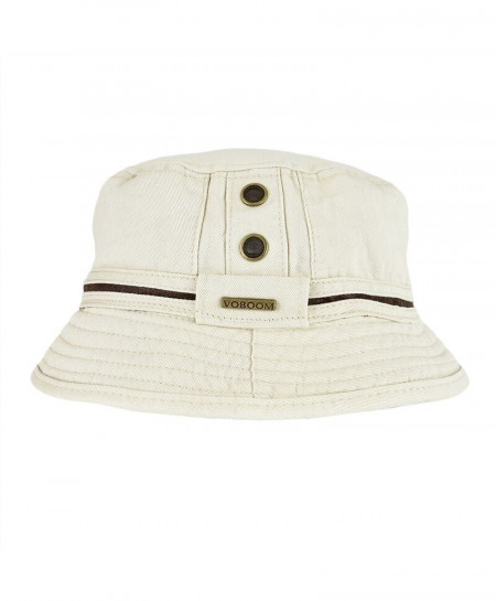 VOBOOM Beige Cotton Solid Bucket Hats