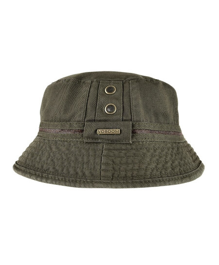 VOBOOM Green Cotton Solid Bucket Hats