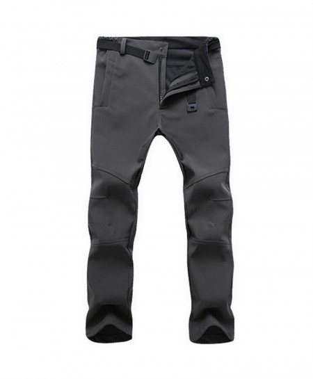 Straight Gray Zipper Fly Polyester Broadcloth Warm Pants
