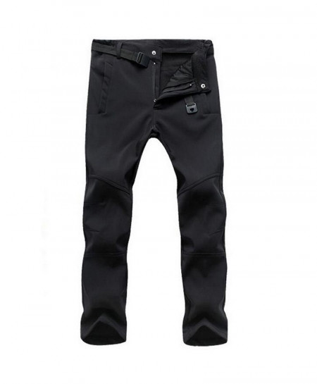 Straight Black Zipper Fly Polyester Broadcloth Warm Pants