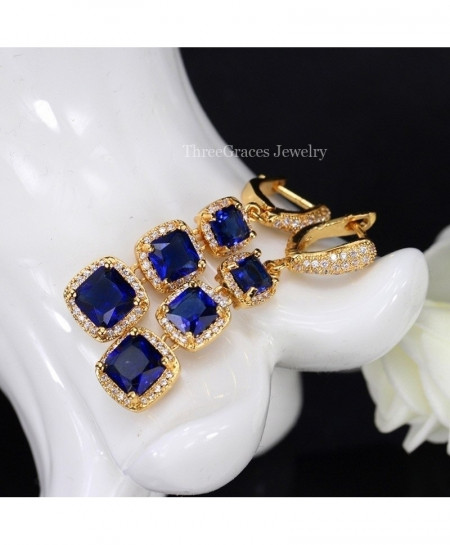 ThreeGraces Jewelry Blue Copper Cubic Zirconia Stone Crystal Earrings