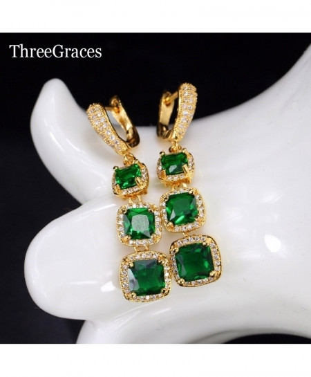 ThreeGraces Jewelry Green Copper Cubic Zirconia Stone Crystal Earrings