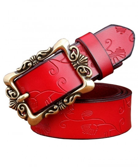 BeHighKing Red Small Flowerr Cowskin Alloy Genuine Leather Belts