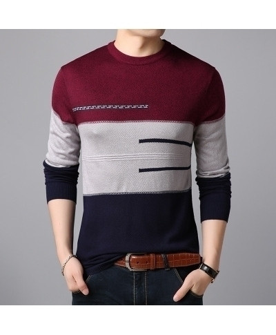 Covrlge Red Patchwork Pullovers Polyester Sweater