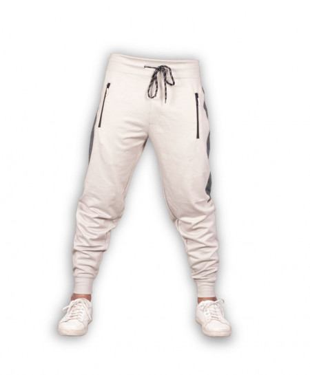 Light Grey Stripe Close Bottom Jogging Trousers