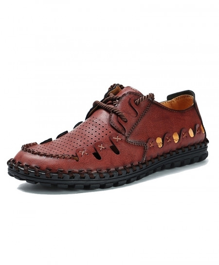 MVVT Red Brown Ankle-Wrap Split Leather Solid Casual Shoes