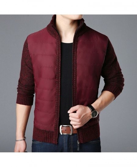 LANGBEEYAR Maroon Thick Slim Fit Zipper Cardigan Sweater