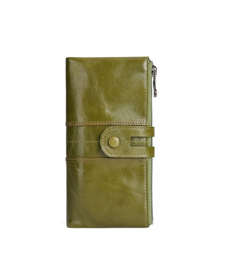 TINKIN Green Solid Genuine Leather Zipper Wallets
