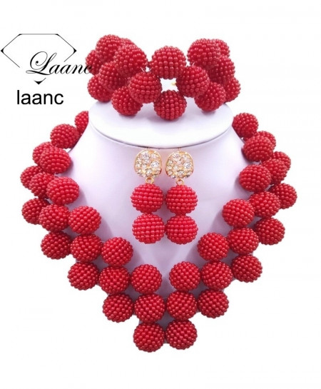Laanc Dark Red Pearl Zinc Alloy Round Jewelry Set