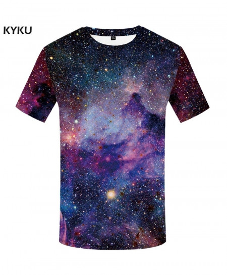 KYKU Space Galaxy Spandex Polyester O-Neck 3d T-Shirt