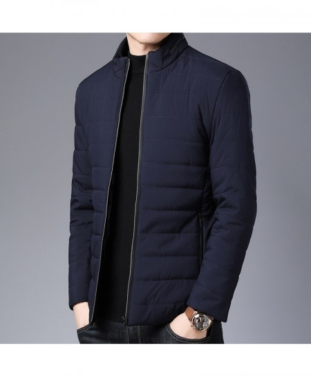 Langbeeyar Navy Blue Nylon Loose Polyamide Thick Jackets