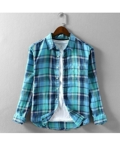 Lffmhmt Blue Cotton Plaid Shirts