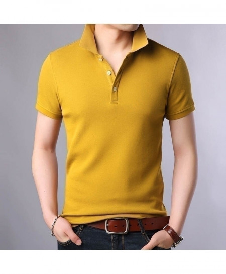 Langbeeyar Yellow Cotton Breathable Solid T Shirt