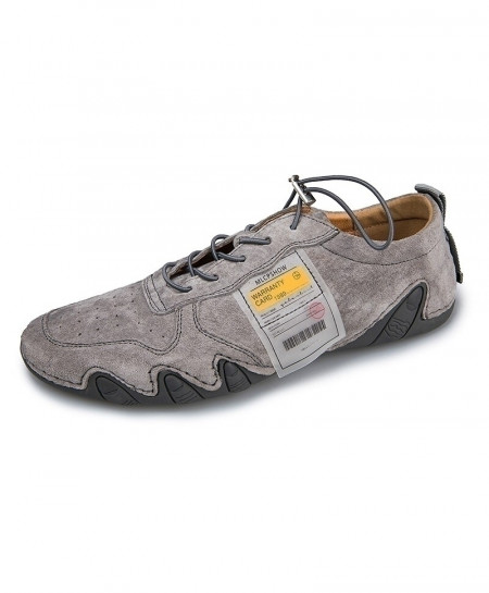 Eogc Gray Rubber Breathable Genuine Leather Casual Shoes