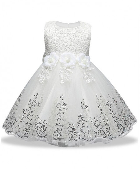 Keaiyouhuo White Cotton Polyester Sleeveless Solid Girls Princess Dress