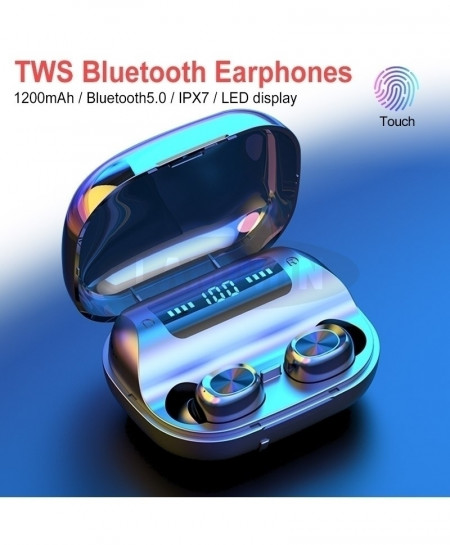Black with LED 5.0 TWS Bluetooth Earphone