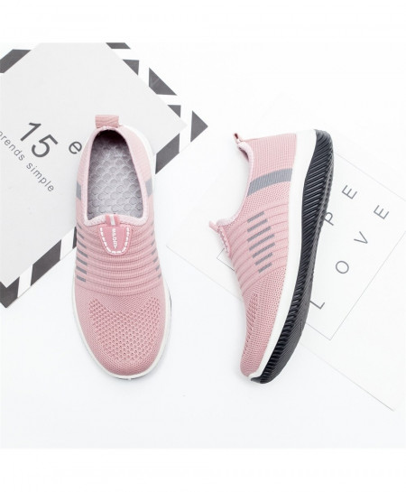 Pink Air Mesh Slip On Casual Shoes