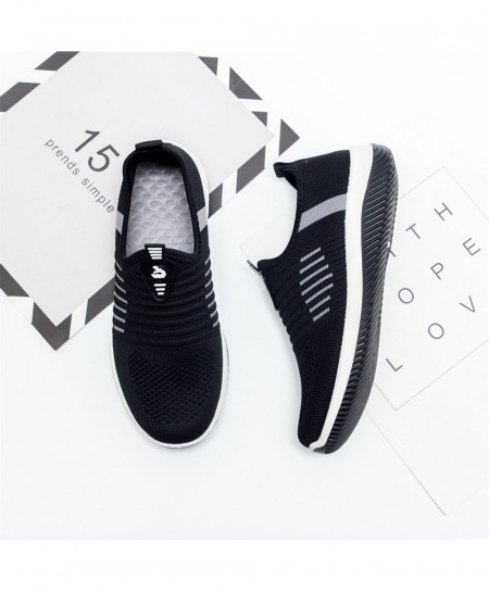 Black Air Mesh Slip On Casual Shoes
