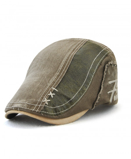 Tohuiyan Army Green Cotton Patchwork Cap