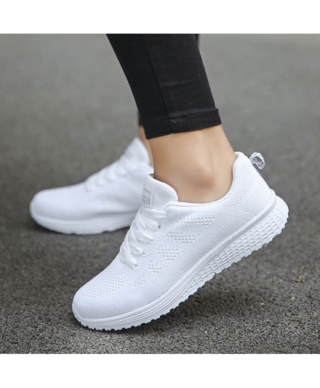 Gilaugh White Cotton Fabric Lace-Up Shoes