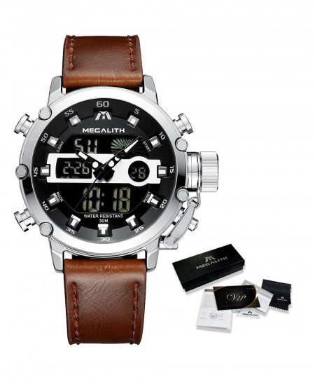 MEGALITH Leather Silver Waterproof Luminous Dual Display Watch