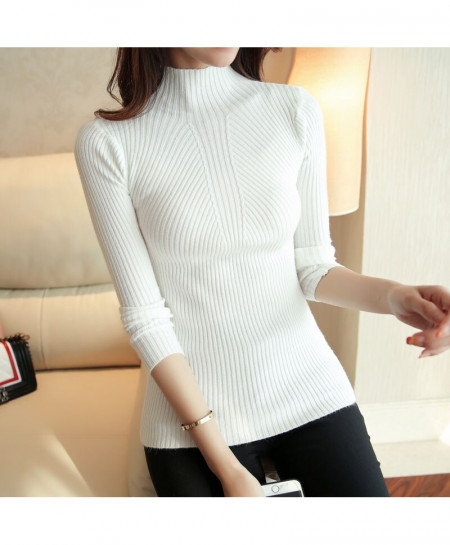 SURE XIAO White Long Sleeve Turtleneck Pullovers Tops Sweater