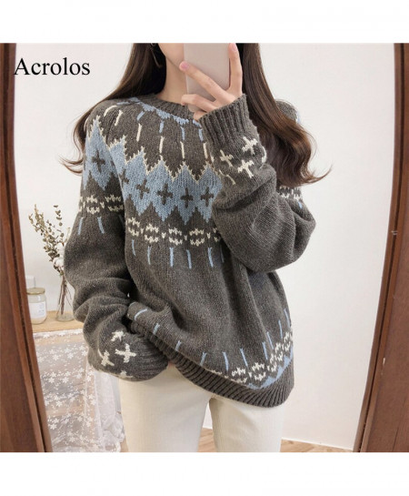 Acrolos Gray Knitted Jumper Long Sleeve Printed Sweater