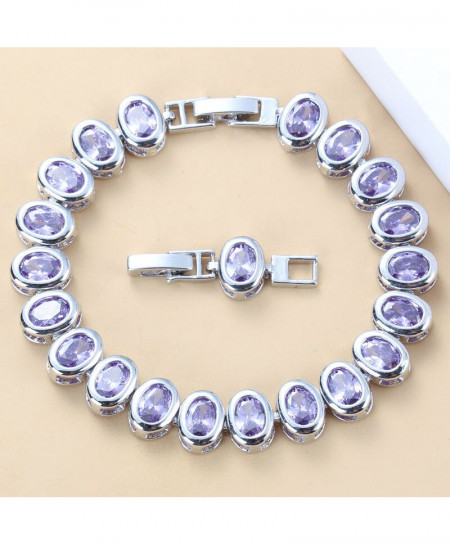Manny Della Purple Crystal 925 Silver Bangle