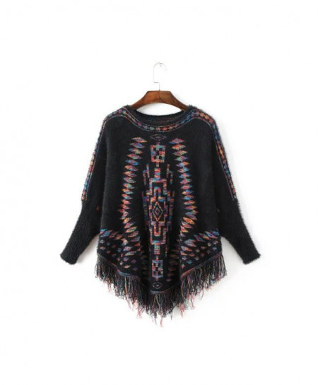 BlackWinter Warm Knitted Poncho Cloak