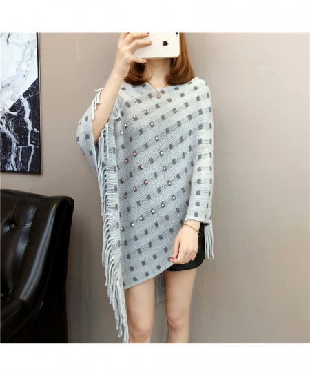 Gray Knitted Tassels Long Of The Shawl Loose Cape Coat Shirt