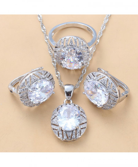 Manny Della White Zircon 925 Sterling Silver Jewelry Set