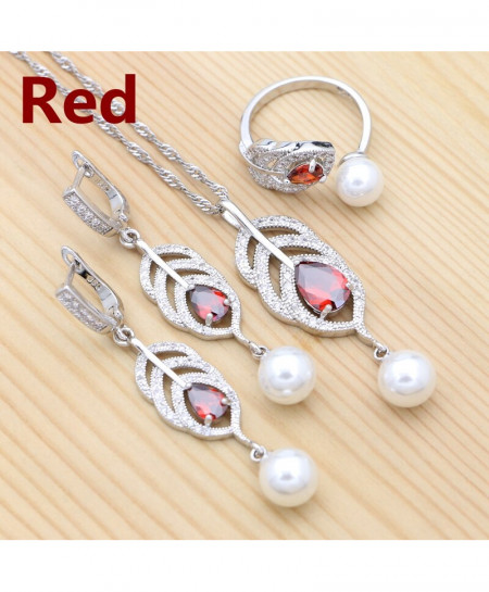 XINGTELO Red Cubic Zirconia  925 Silver Pearl Jewelry Set
