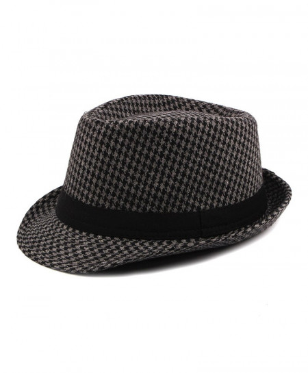 KAGYNAP Dark Gray Shepard Check Pattern Fedoras Hat