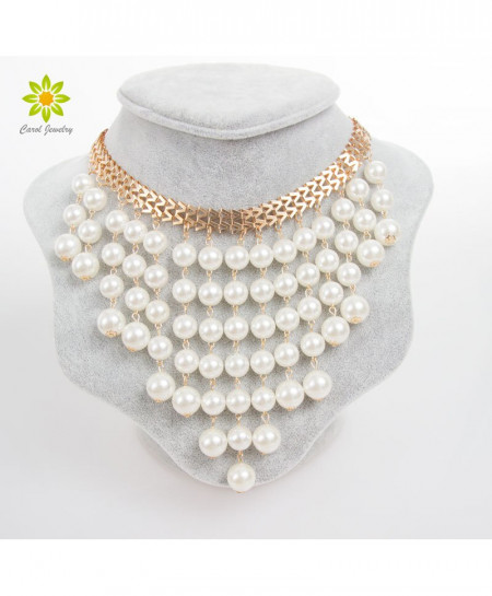 Torques Collar Simulated Pearl  Design Necklace