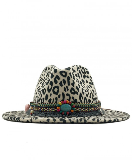 Off White Flat Brim Wool Felt Jazz Fedora Panama Formal Hat